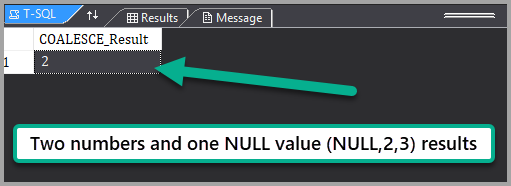 The output of the script 'Two Numbers and a NULL' Example
