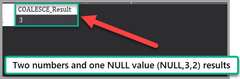 The output of the script with two numbers and one NULL value