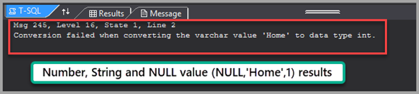 Number, String and NULL value result