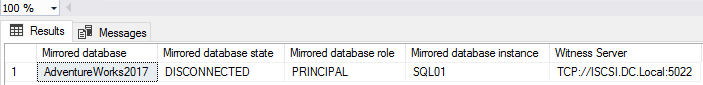 The output of the query to see the status of the principal and mirrored instance