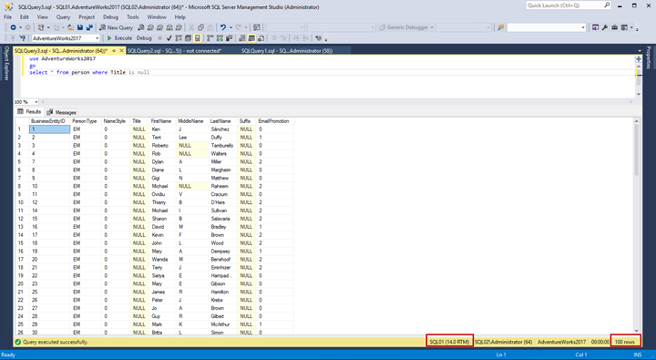 The output of the query to verify that data has been inserted on the principal database