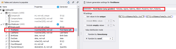 Configuring the synthetic data generation for the FirstName field