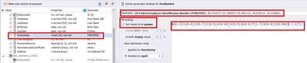Configuring the synthetic data generation for the DocNumber field