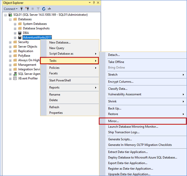 Connect to the SQL01 server and open SQL Server Management Studio