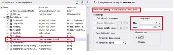 Configuring the synthetic data generation for the Description field