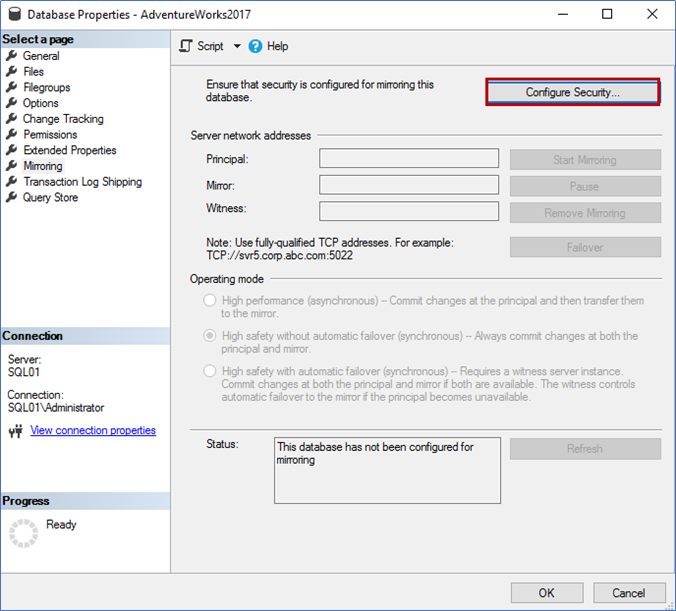 On the Database Properties dialog box, click on Configure Security