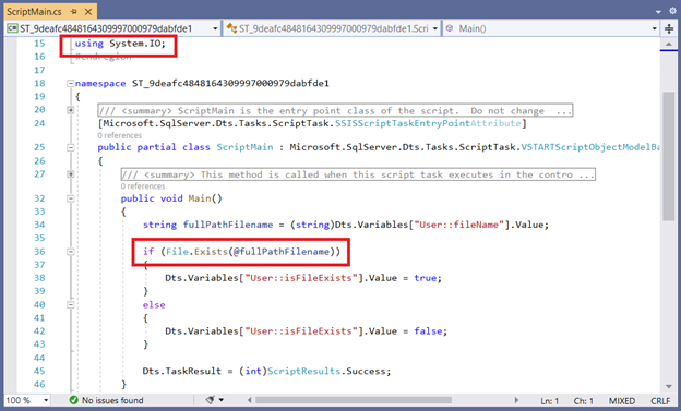 The actual script in C# for the Script Task. Note the additional namespace and the if conditional block.