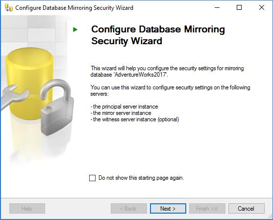 Configure Database Mirroring Security Wizard
