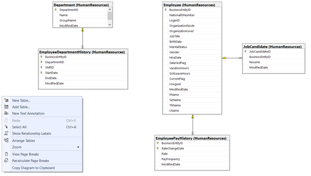Create a new table in that database or add an existing table to the diagram