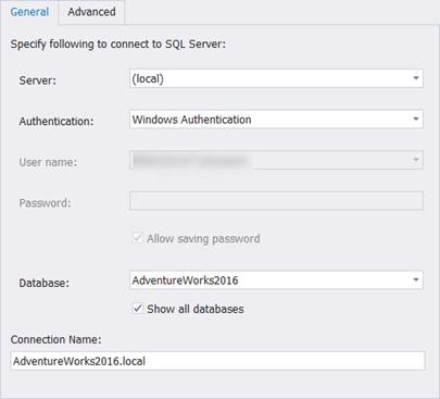 Database Connection Properties window