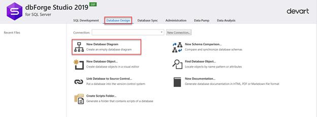 New Database Diagram option under the Database Design window