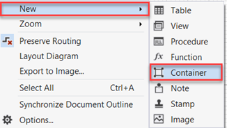 """Right-click on the white area and choose """"New > Container"""""""