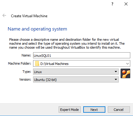 Create Virtual Machine - Name and operating system