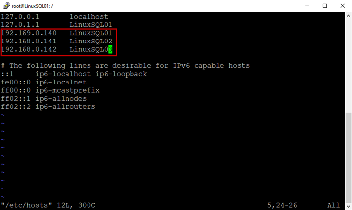 In the host file, enter the hostnames and IP addresses of all virtual machines