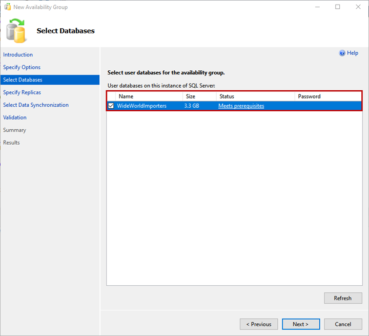 Choose the database to add to the availability group on the Select Databases screen