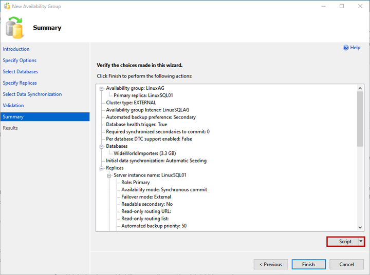On the Summary screen, you can see the list of configurations chosen to deploy the availability group.