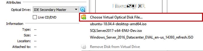 Choose Virtual Optical Disk File
