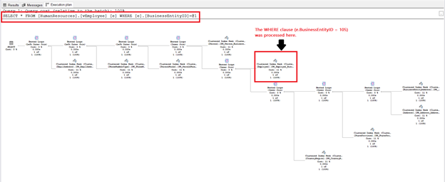 Execution plan of a query with an SQL view. The WHERE clause was not processed last.