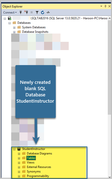 Newly created blank SQL Database StudentInstructor