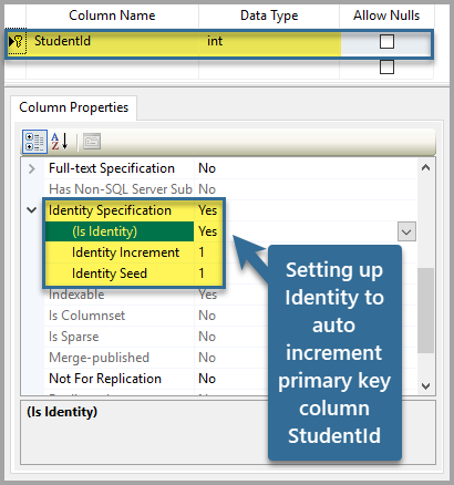 Setting up Identity to auto increment primary key column StudentId