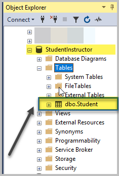 View the Student Table (Object Explorer)