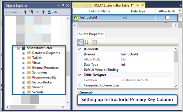 Create an Instructor Table with InstrutorId and Name Columns