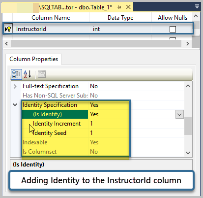 Add Identity to the column InstructorId