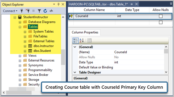 Creating Course Table with CourseId Primary Key Column with Identity