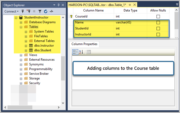 Adding Name, StudentId, and CourseId Columns to the Course table