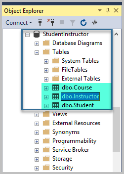 Refresh all the tables and view the newly created table alongside others in the Object Explorer