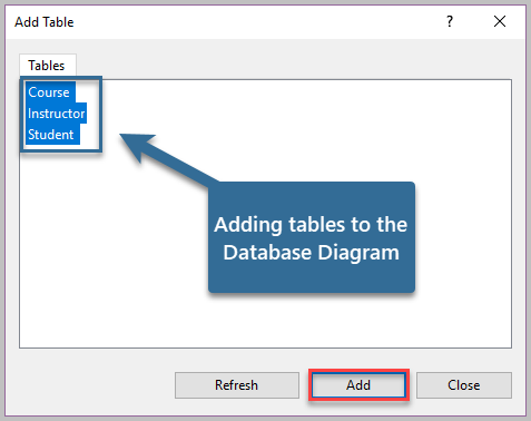 Adding table to the Database Diagram