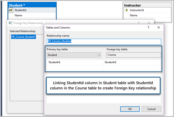 Link StudentId column in Student table with StudentId column in the Course table to create Foreign Key relationship