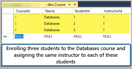 Enrolling three students to the Databases course and assigning the same instructor to each of these students