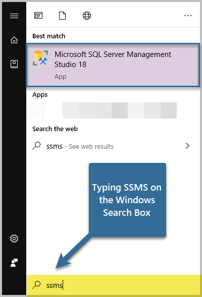 Typing SSMS on the Windows Search Box