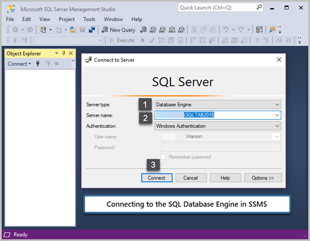 Connecting to the SQL Databases Engine in SSMS