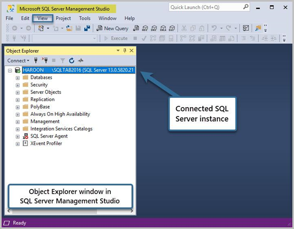 Object Explorer window in SQL Server Management Studio