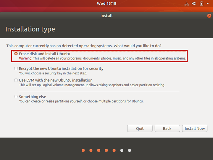 On the Installation type screen, select Erase disk and install Ubuntu.