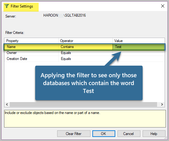 Applying the filter to see only those databases which contain the word Test