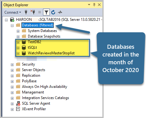 Databases created in the month of October 2020