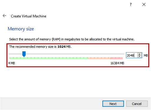 Create Virtual Machine - Memory size screen