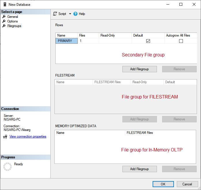 The Filegroups screen