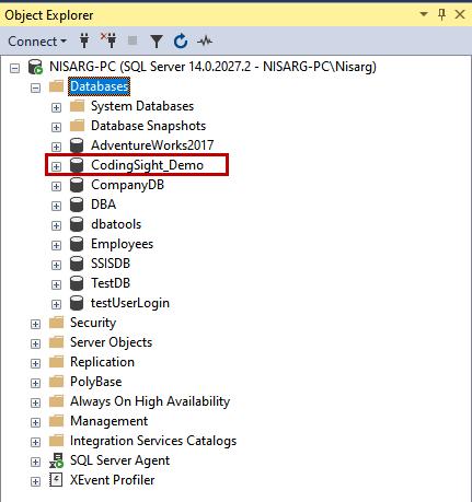 The newly created database