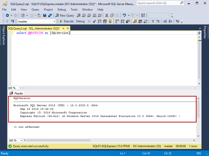 The output of the query to check the SQL Server version.