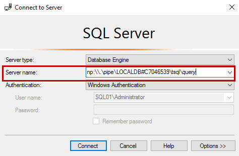Copy the instance name pipe and use it in SQL Server Management Studio. Click Connect
