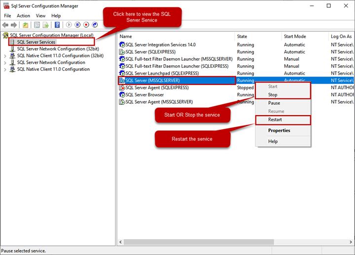 Five Different Methods To Start, Stop, And Restart SQL Server Services