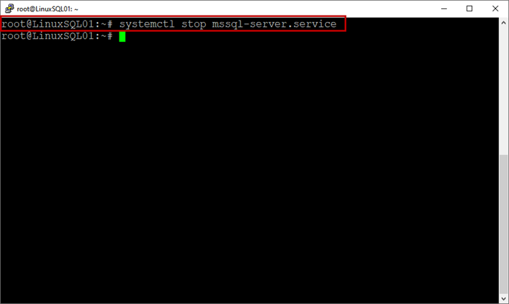Picture 6. The stop command execution on Linux