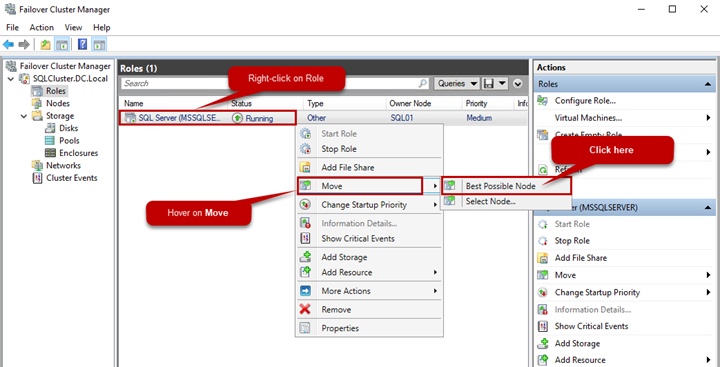 Picture 11. Viewing the SQL Server role and moving resources in the failover cluster environment