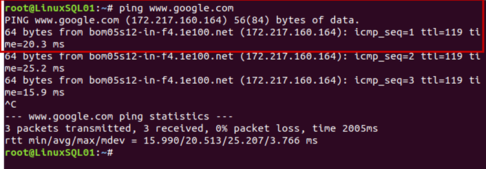 The output of the ping command after package installation completion