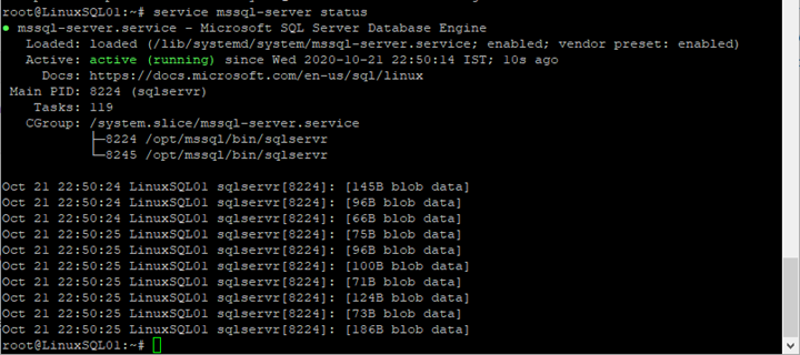 The output of the command execution to check the SQL Server service status