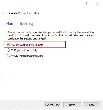 Create Virtual Hard Disk - VDI (Virtual Disk Image)